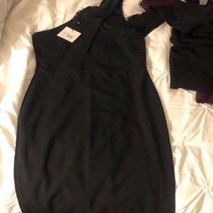 Black one shoulder peekaboo boob midi dress